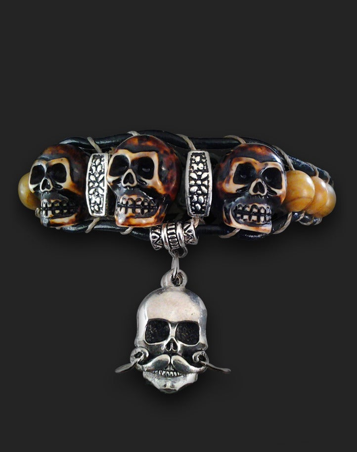 "Image of Leather ""Yak Bone"" Wrap with Stache Skull  