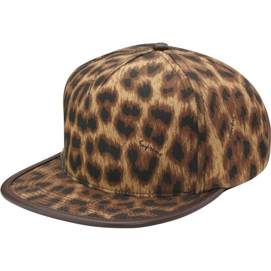 Image of Supreme Leopard 5-Panel Hat Leather buckle