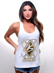 Image of Women's White & Gold Diamond Tank