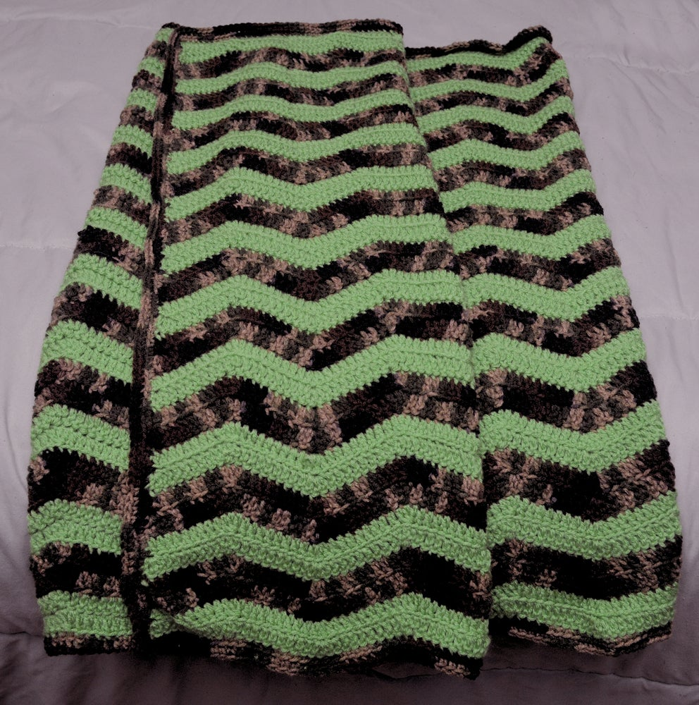 Image of Baby Afghan, Camouflage with green chevron stripes