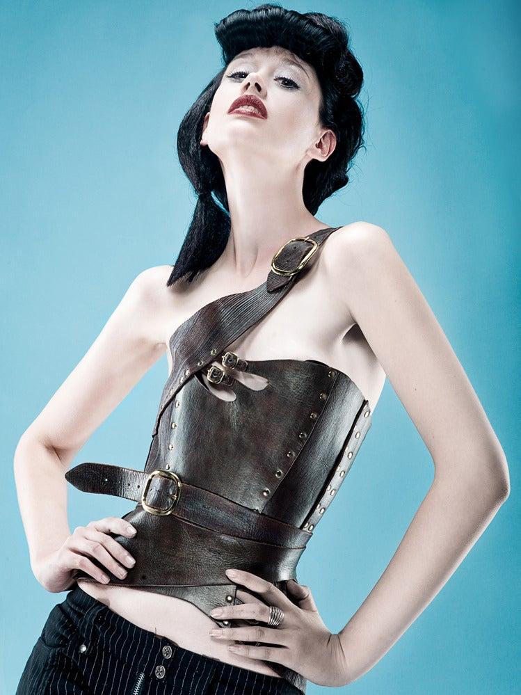 Image of Gula Leather Corset From Antiseptic Fashion