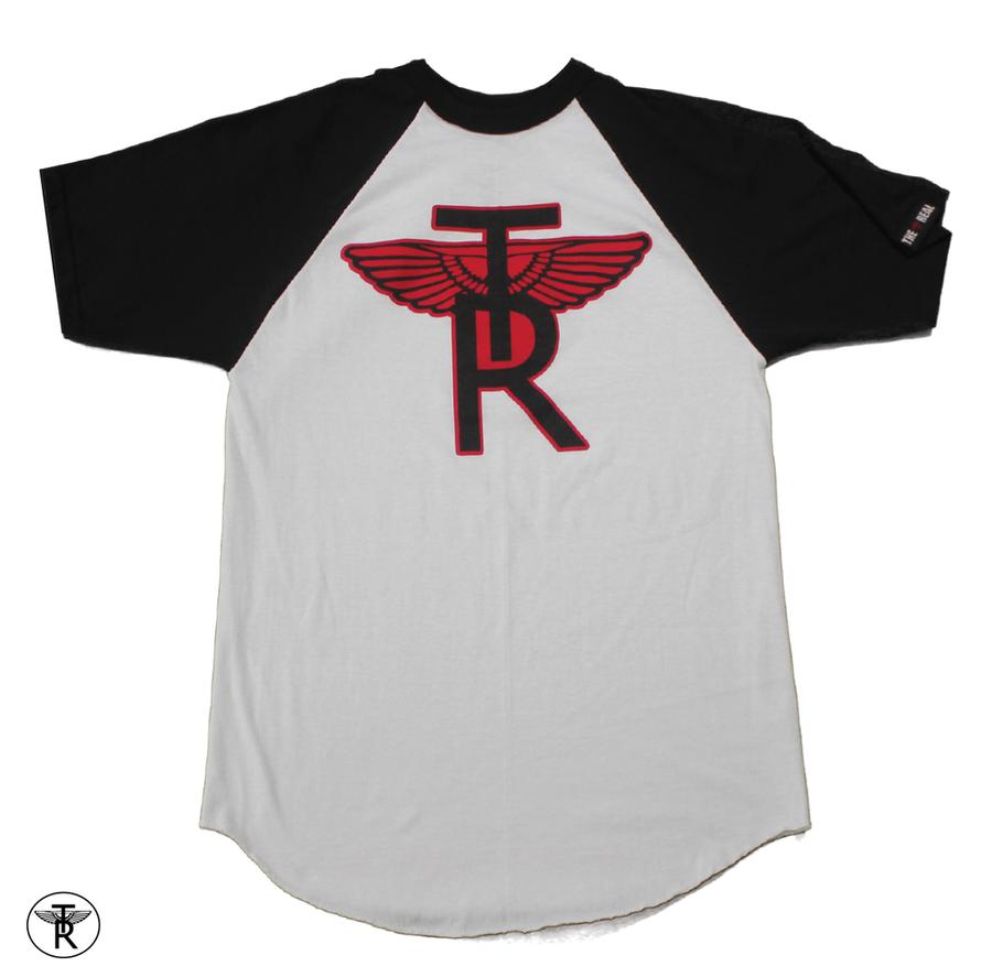 Image of WHITE/BLACK TR Wings SHORT SLEEVE BASEBALL T-SHIRT