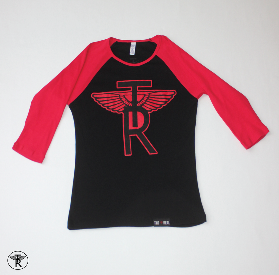 Image of LADIES BLACK/RED TR Wings 3/4 SLEEVE BASEBALL T-SHIRT