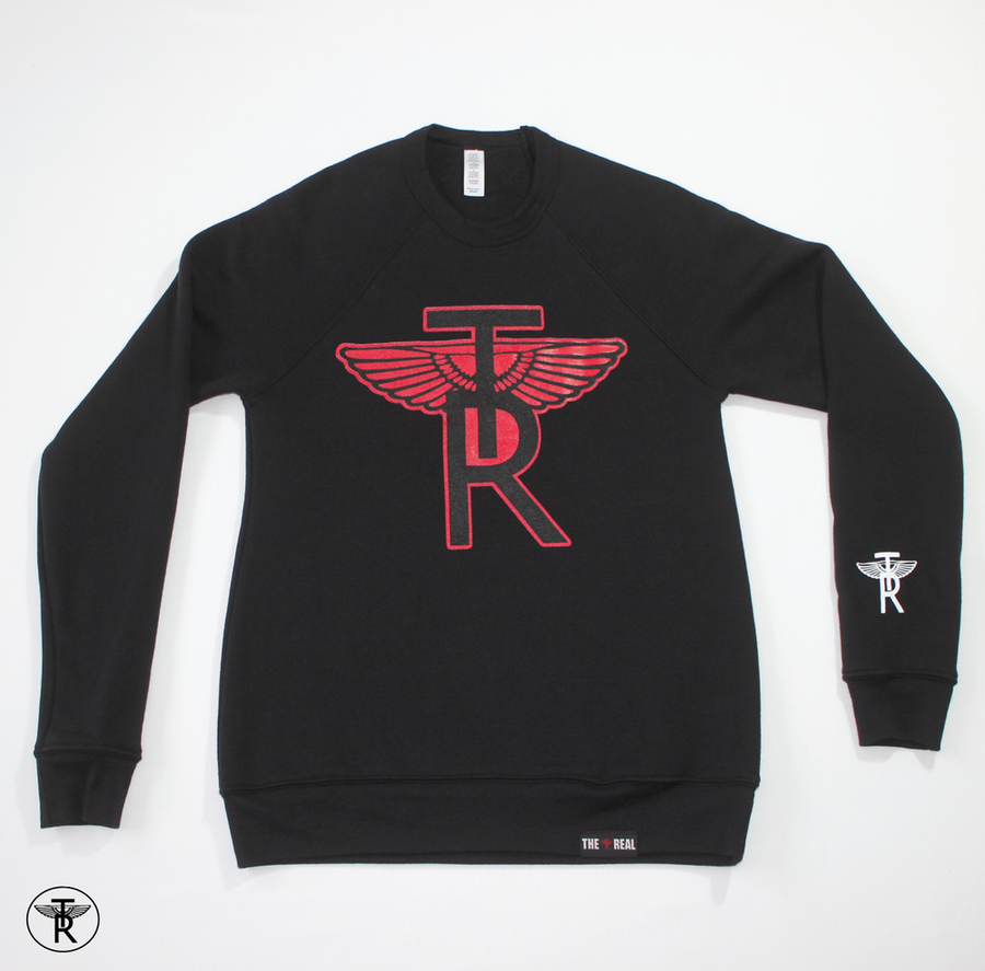 Image of ECO BLACK TR Wings CRWENECK SWEATER (Unisex)