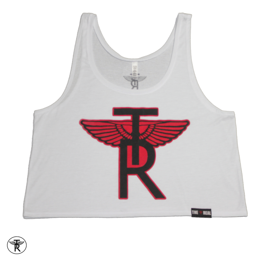 Image of LADIES WHITE TR Wings FLOWY BOXY TANK