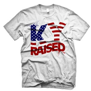 Image of KY Raised USA FLAG tee in White, Red & Blue