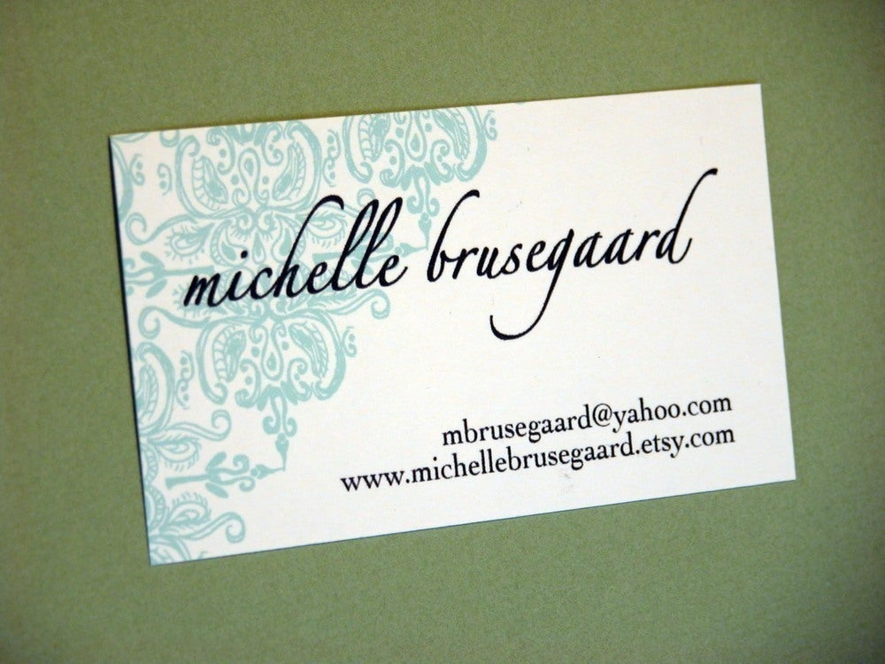 Image of Aqua Brocade Calling Cards-featured in Real Simple Magazine!