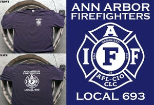 Image of Ann Arbor Firefighters - IAFF Local 693 T-Shirt (White on Navy Blue)