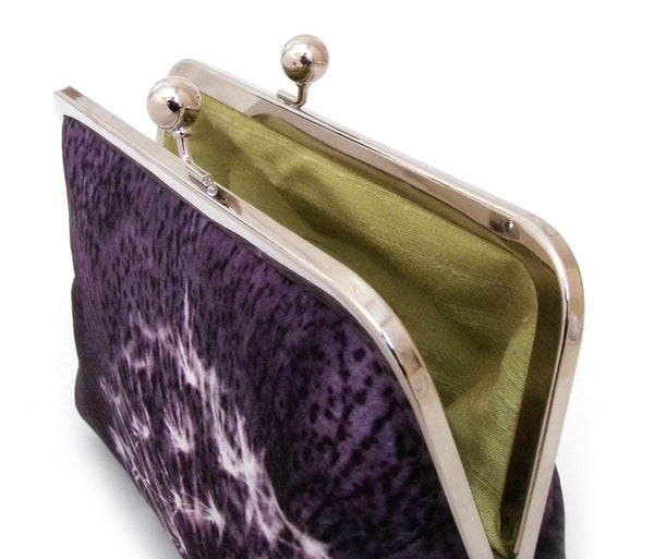 Dandelion clocks clutch bag, aubergine purple silk purse - Red Ruby Rose