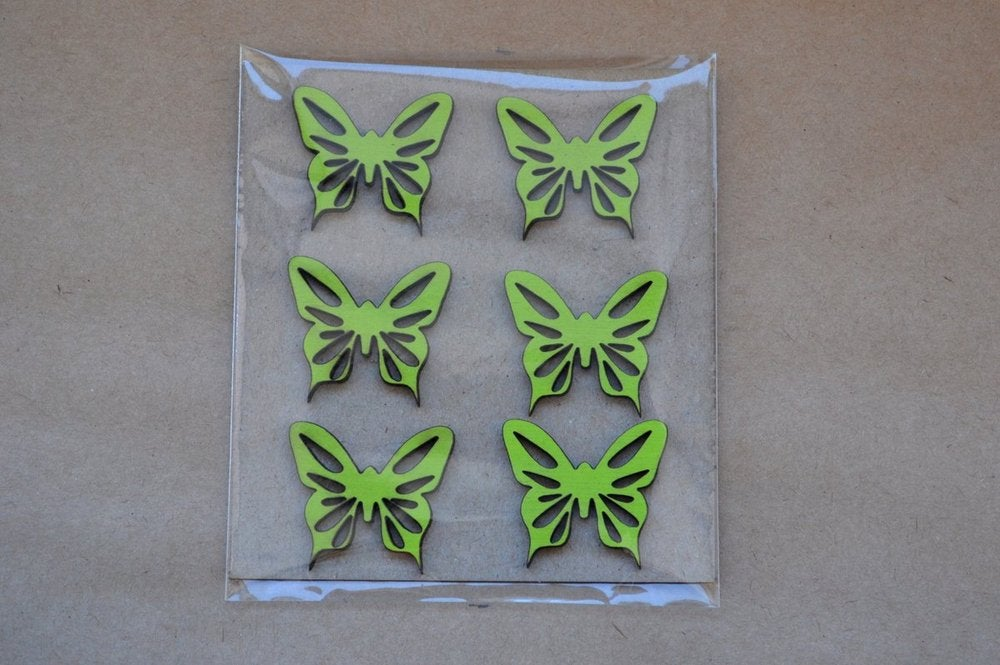 Image of 6 Sublime Wooden Butterfly Embellishments