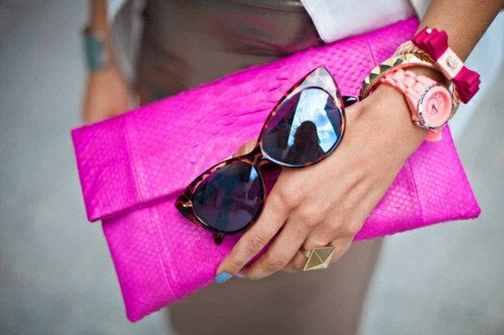 Image of Neon Pink Python Snakeskin Leather Fold Over Clutch Bag