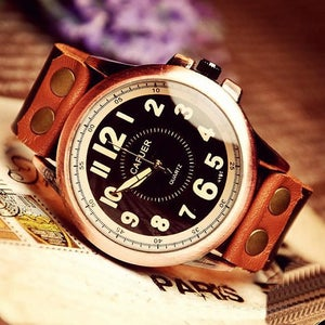 Image of Mens Handmade Leather Wrist Watch / Antique Quartz Watches (WAT0002-BLACK)