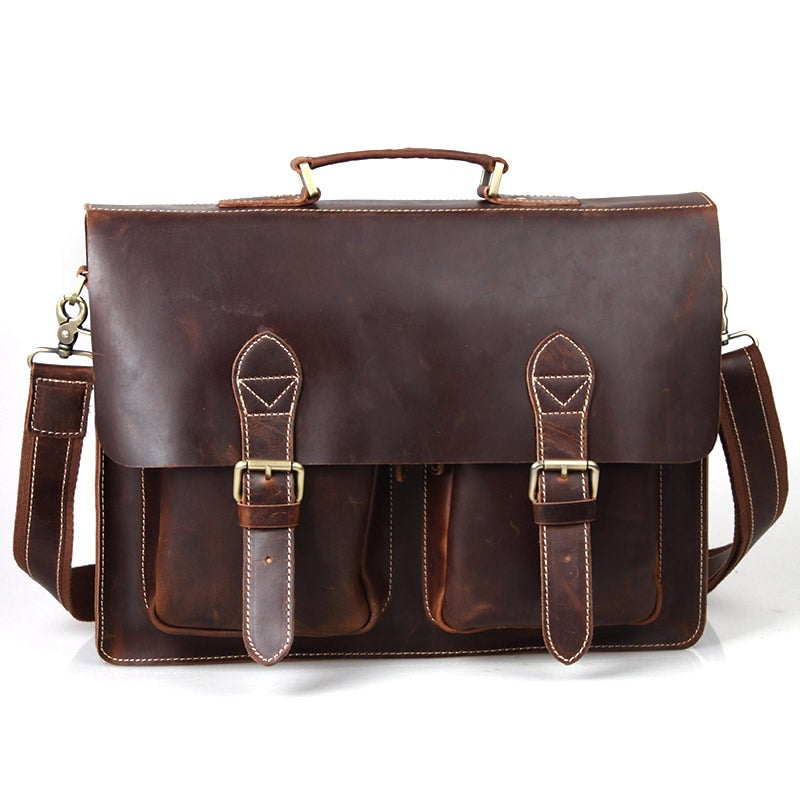 "Image of Handmade Superior Leather Briefcase Messenger Bag with 14"" 15"" Laptop 13"" 15"" MacBook Sleeve (n67-7)"