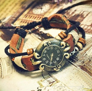 Image of Handmade Retro Womens Leather Wrist Watch Ladies Girls Bangle Beaded Bracelet Quartz Watch (GA0048)