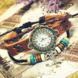 Image of Girls Handmade Vintage Leather Quartz Wrist Watches (GA0055)