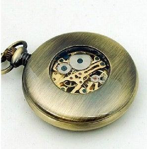 Image of Antique bronze mechanical pocket watch vintage wood Roman numerals (WAT0076)