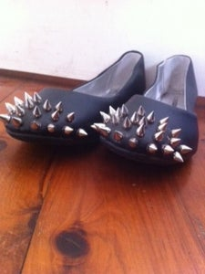 Image of silver studded flats