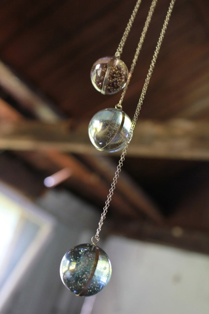 Image of Vintage Glass Marble Pendant Necklace
