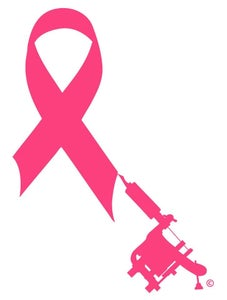 Image of Breast Cancer Aware Ribbon+Tattoo Machine(c) Design STICKER