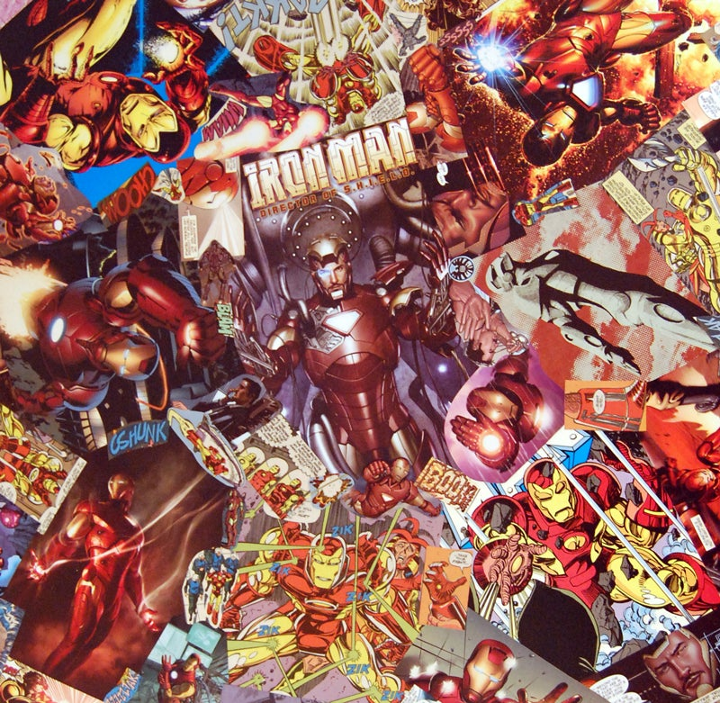 Image of Iron Man Comic Collage Table