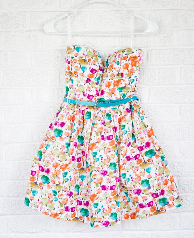 Image of Colorful Strapless Dress
