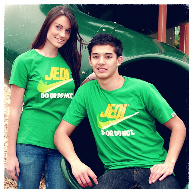 """Image of """"Brand Wars: Jedi"""" - Kelly Green or Royal Blue tee"""