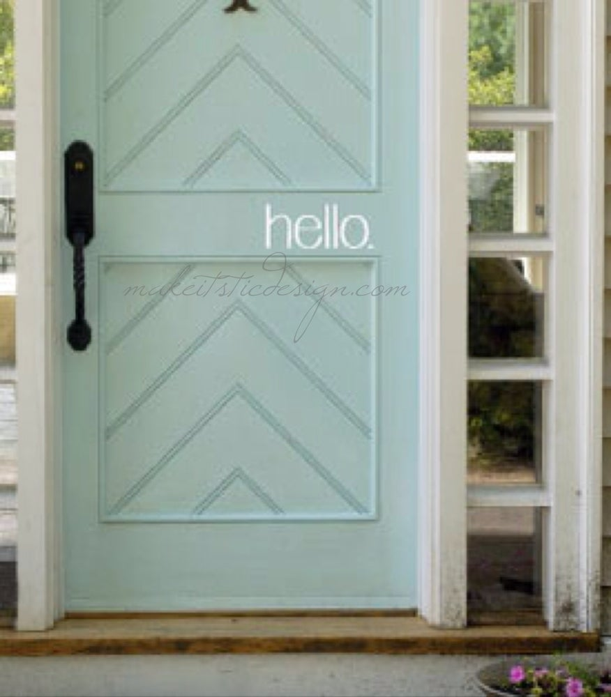 Image of hello Vinyl Door Decal- You Choose Color