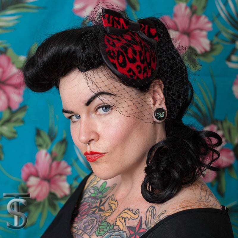 Image of Red Leopard Cocktail Hat