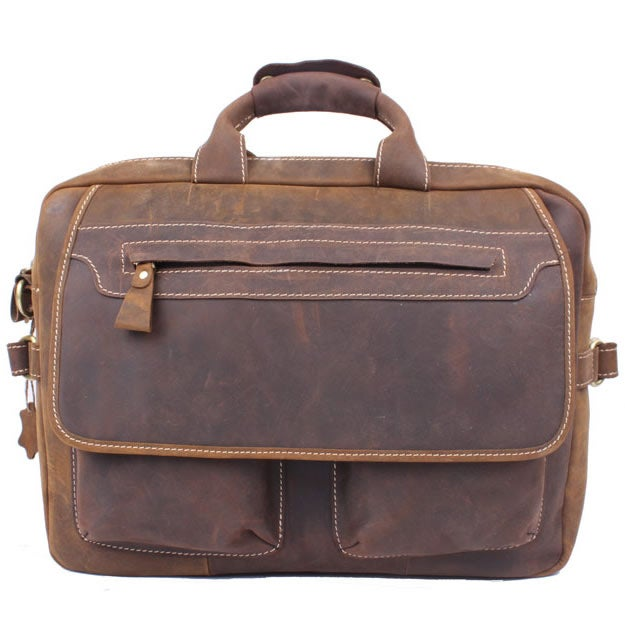 "Image of Men's Handmade Vintage Leather Briefcase / Messenger / 15"" MacBook 14"" Laptop Bag / Travel Bag (n11)"