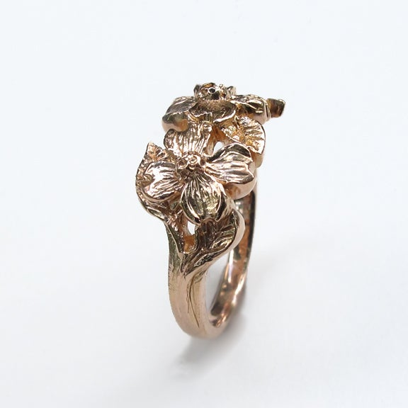Image of Dogwood Flowers 18k Rose Gold Ring