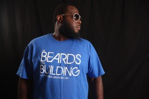 Image of ROYAL BLUE BEARDS IN THE BUILDING T-SHIRT WITH WHITE PRINT
