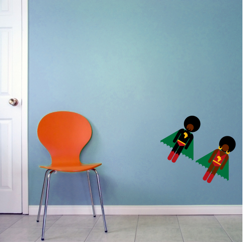 Image of AFRO SUPA® STAR TWINS WALL STICKERS