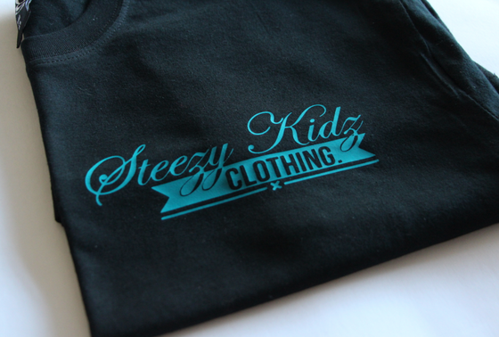 Image of Steezy Kidz Pocket Print Tee Black / Teal