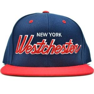 Image of Westchester NY NAVY & RED SNAPBACK