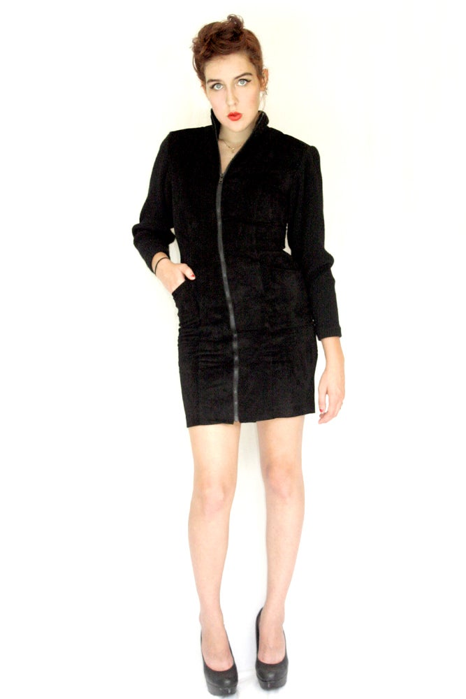 Image of 80's Suede and Wool Coat dress