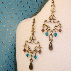 Image of Champaign Chandelier Swarovski Earrings