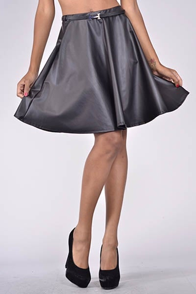 Image of Faux Leather Skirt