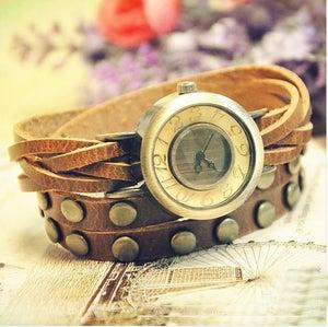 Image of Ladies & Girls & Womens & Mens Leather Bangle Studded Bracelet Quartz Watch (WAT00106)