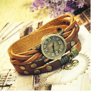 Image of Handmade Vintage Leather Bangle Studded Bracelet Quartz Watch For Ladies Girl Women Men (WAT0105)