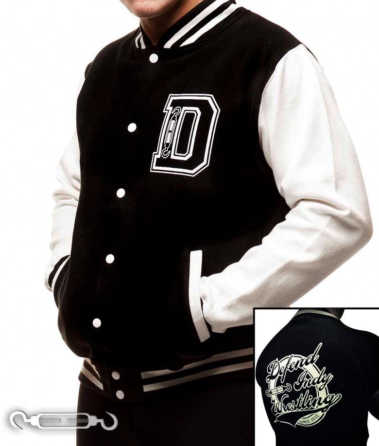 Image of DEFEND Indy Wrestling Varsity Jacket