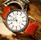 Image of Handmade Watch / Vintage Watch / Wrist Watch / Leather Watch / Quartz Watch (WAT00109 - Orange)
