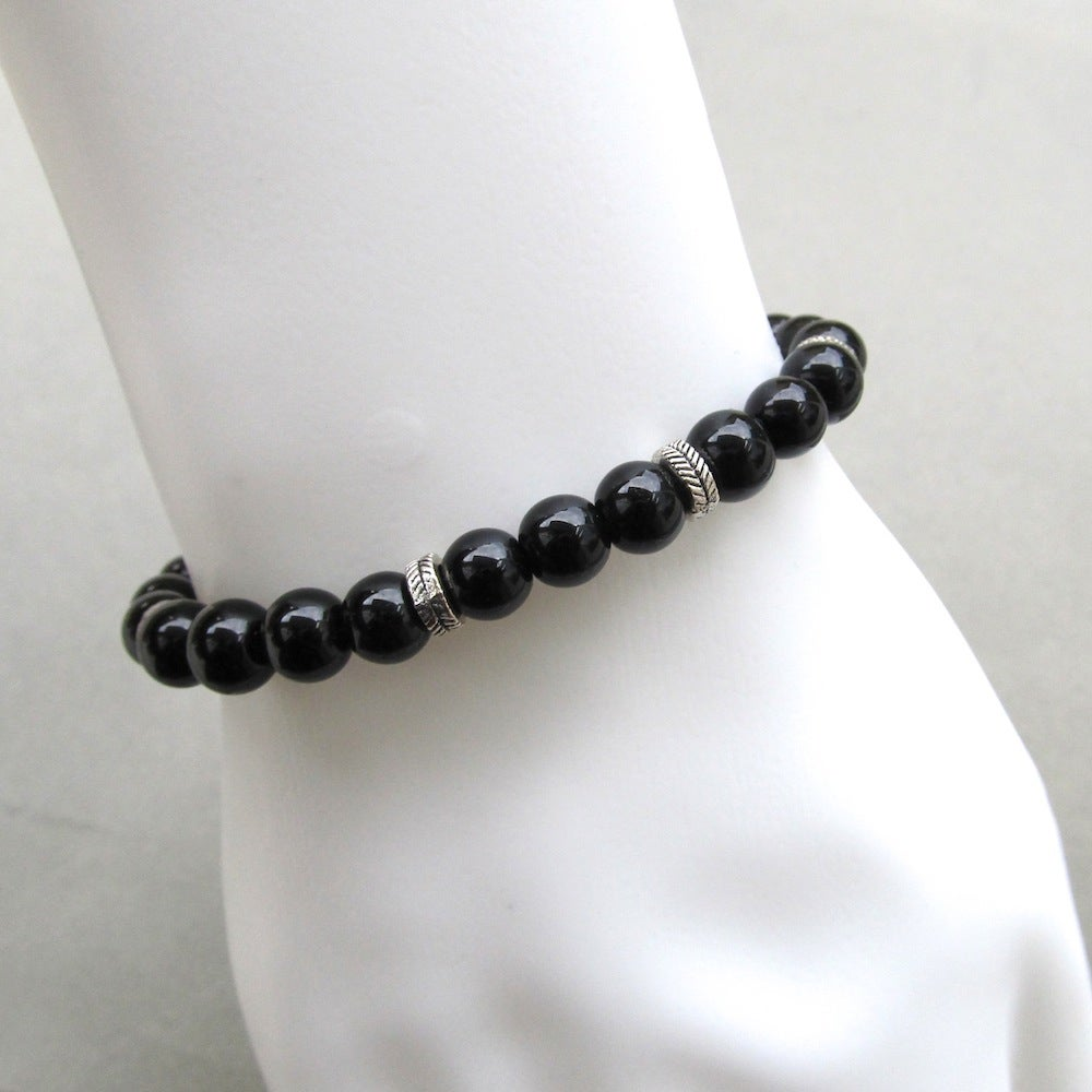 Image of Black Glass And Silver Rondelle Beaded Bracelet