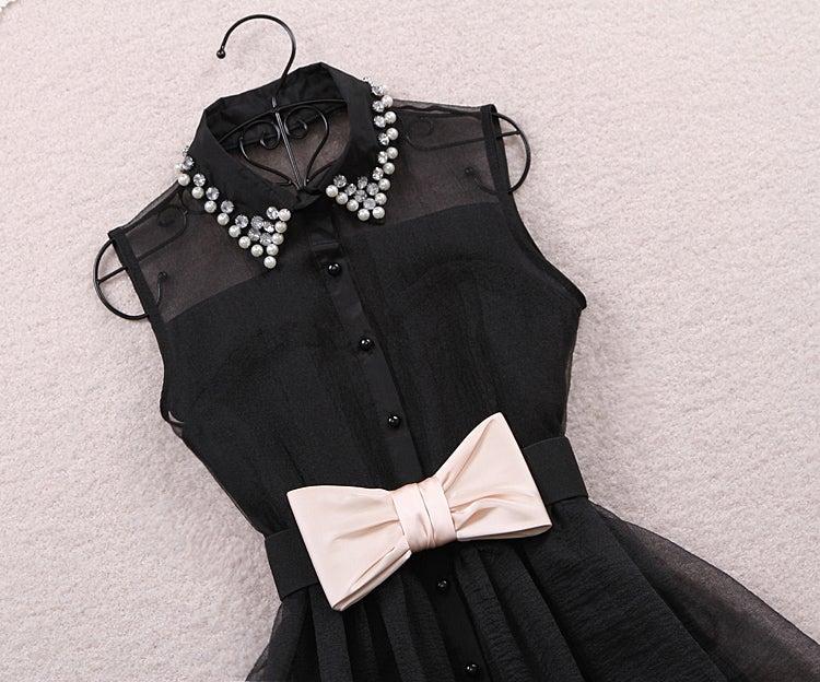 Image of Lapel gauze high-waisted dresses