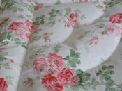 Image of Martha Large Peachy Pink Roses, Piped Edge Eiderdown