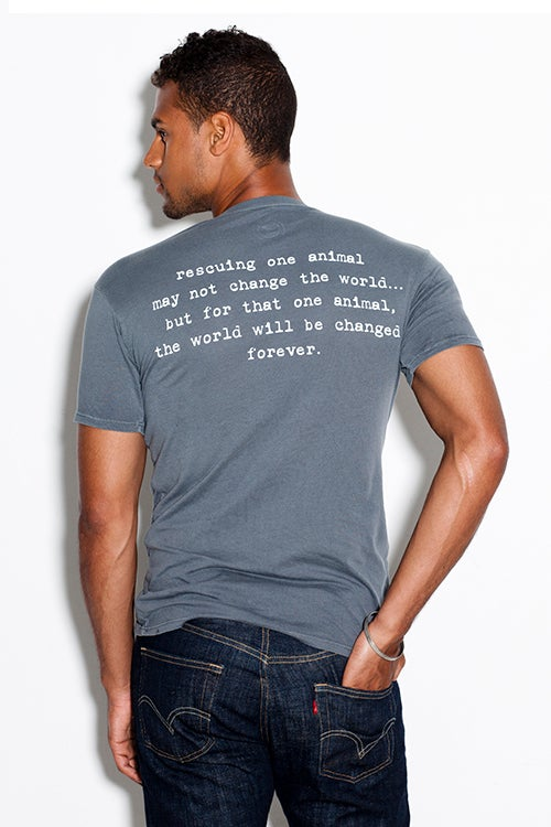 "Image of slim fit guy's premium ""rescue"" tee. cement grey with teal dog logo"