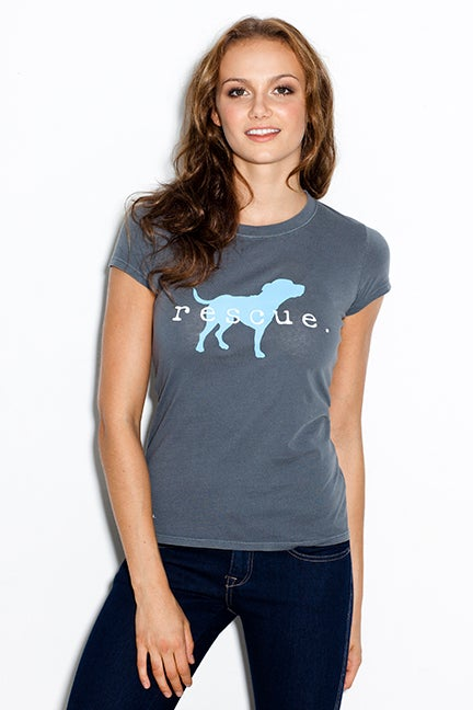 """Image of slim fit girl's premium """"rescue"""" tee. cement grey body with teal dog logo"""