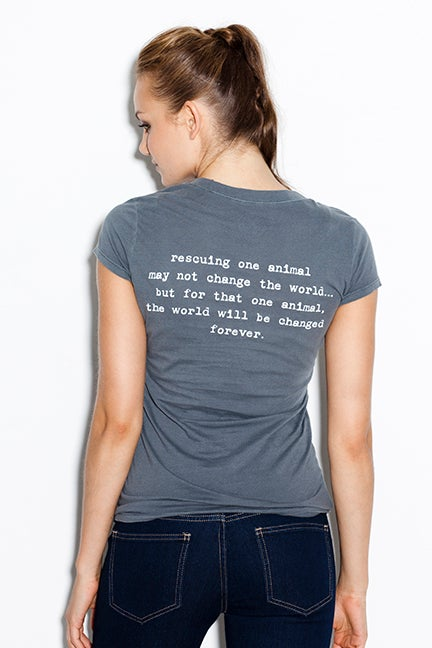 "Image of slim fit girl's premium ""rescue"" tee. cement grey body with teal dog logo"