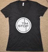 Image of Women's 'Tim Stop' Dark Heather Grey V-Neck