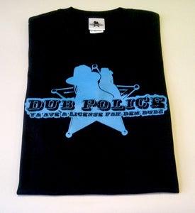 Image of Dub Police Black/Blue Logo Mens T-Shirt