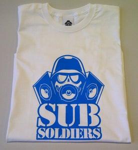Image of Sub Soldiers White/B.Blue Logo Mens T-shirt